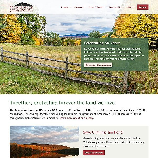 Screenshot of Monadnock Conservancy website homepage