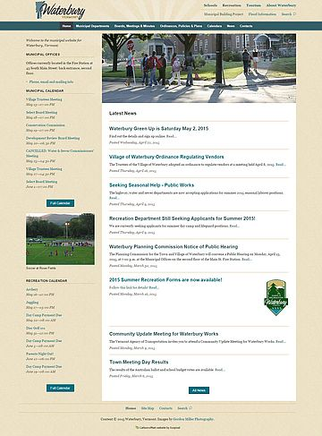 Screenshot of Town of Waterbury website