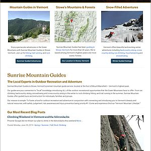 Responsive Web design website for Vermont's Sunrise Mountain Guides
