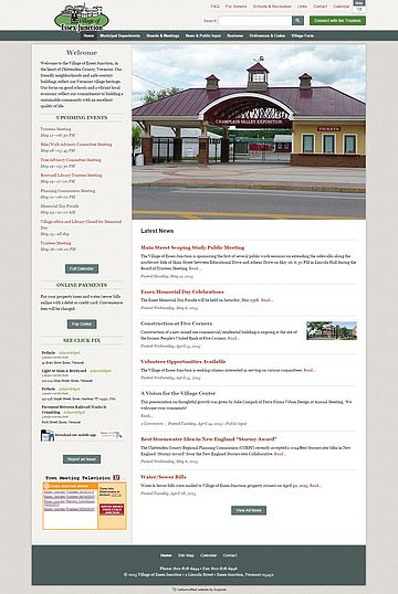 Screenshot of Village of Essex Junction website