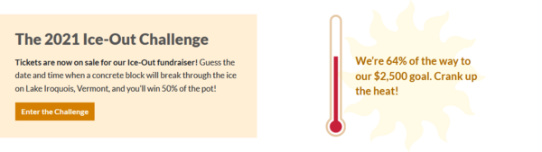 Screenshot from a website showing buttons and a fundraising thermometer