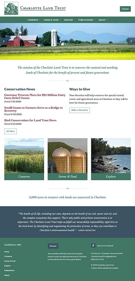 Screenshot of Charlotte Land Trust's 2020 home page