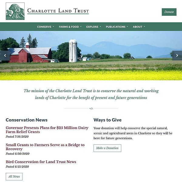 Screenshot of redesigned Charlotte Land Trust website