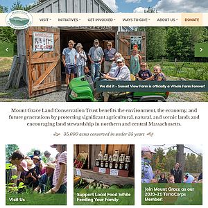 Screenshot of Mount Grace Land Conservation Trust website